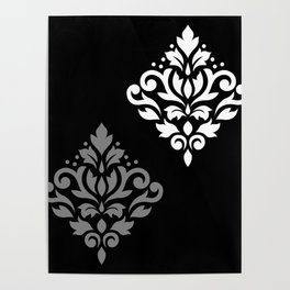 Scroll Damask Art I Black Grey White Poster