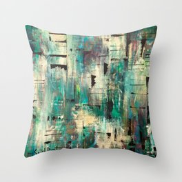 """SINGING IN THE RAIN"" Original Painting by Cyd Rust Throw Pillow"