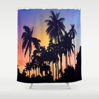 palm tree Shower Curtains featuring palm tree by mark ashkenazi