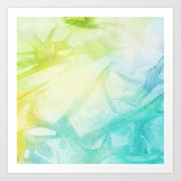 Abstract lime green teal hand painted watercolor pattern Art Print