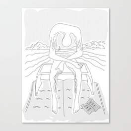 fan art: melancholy sculpture on book raft with dropped open book and sea view Canvas Print