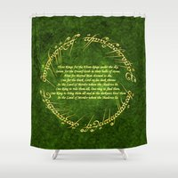 lord of the rings Shower Curtains featuring THE LORD OF THE RINGS by Bilqis