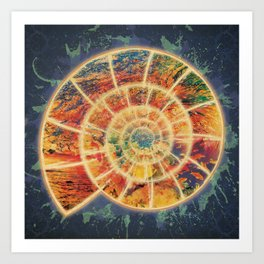 Abstract Colorful Ocean Nautilus Shell Art Print