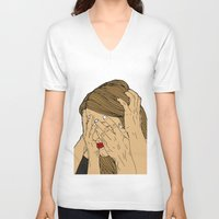 introvert V-neck T-shirts featuring Introvert 6 by Heidi Banford