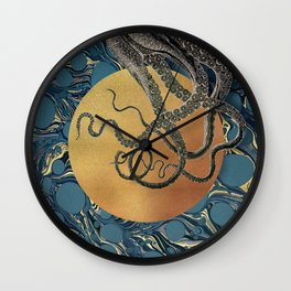 Gold Marble Octopus Wall Clock