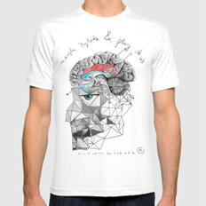 Brainwash White Mens Fitted Tee SMALL