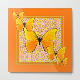 Butterscotch Golden Butterflies Yellow Abstract Metal Print