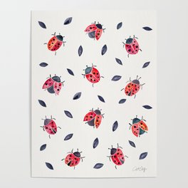 Lucky Ladybugs & Black Leaves Poster