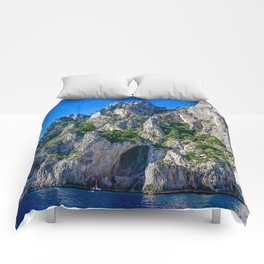 The White Grotto of the island of Capri, Italy off Naples and the Amalfi Coast Comforters