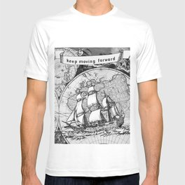 ship on a background map .  home decor for him and her T-shirt