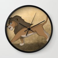 lions Wall Clocks featuring Running lions by Drawing For Hope