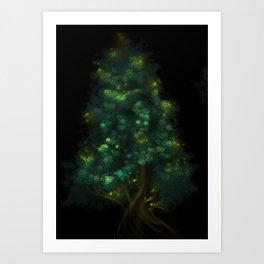Fireflies Tree Art Print