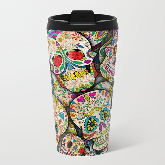 Sugar Skull Collage Metal Travel Mug