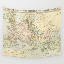 Old Map of Europe under the Empire of Charlemagne Wall Tapestry