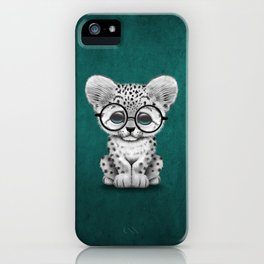 Cute Snow Leopard Cub Wearing Glasses on Teal Blue iPhone Case