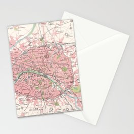 Antique Map of Paris & Environs Stationery Cards