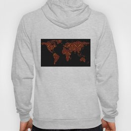 World Map Silhouette - Orange & Red Floral Patten Hoody