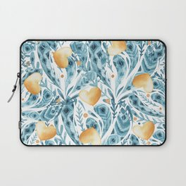 Hand painted blue yellow watercolor bohemian feathers hearts Laptop Sleeve