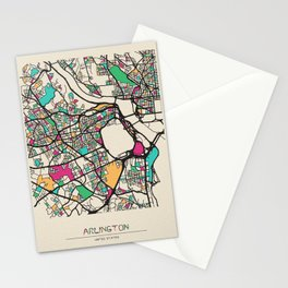 Colorful City Maps: Arlington County, Virginia Stationery Cards