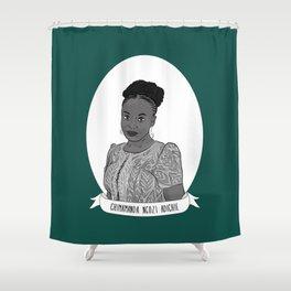 Chimamanda Ngozi Adichie Illustrated Portrait Shower Curtain