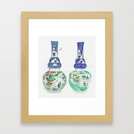 A PAIR OF UNDERGLAZE-BLUE AND FAMILLE-VERTE DOUBLE-GOURD VASES QING DYNASTY, KANGXI PERIOD watercolo Framed Art Print