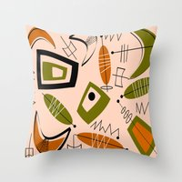 mid century modern Throw Pillows featuring Atomic Mid-Century Modern 2 by Kippygirl