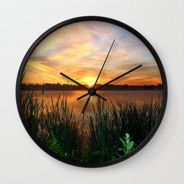 Sunrise At the Lake Wall Clock