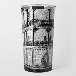 Bourbon St, New Orleans -White on Black Travel Mug