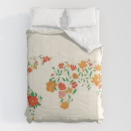Floral World Map Comforters