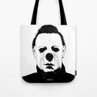 michael myers Tote Bags featuring Myers, The Clown by Conrado Salinas