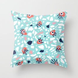 Fun Terrazzo Geometric Pattern With Eyes Throw Pillow