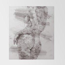 Nude woman pencil drawing Throw Blanket