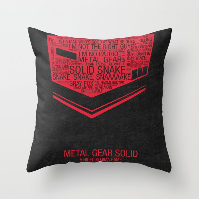 Metal Gear Solid Typography Throw Pillow