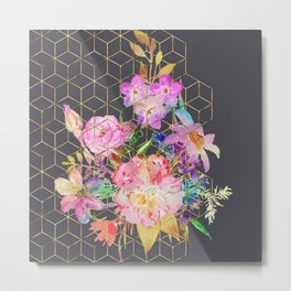 Modern watercolor floral and gold geometric cubes Metal Print