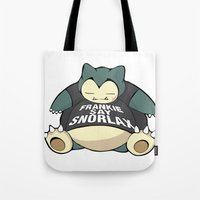 snorlax Tote Bags featuring Frankie Say Snorlax by The Geekerie
