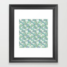 Green Crane Floral Framed Art Print