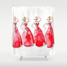 Rouge on the Runway Fashion Illustration Shower Curtain