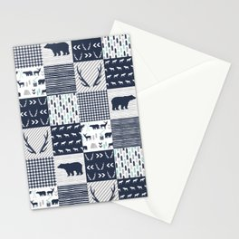 Camper antlers bears pattern minimal nursery basic navy mint grey white camping cabin chalet decor Stationery Cards