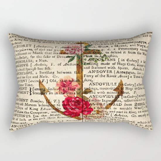 Vintage Anchor with Flowers Dictionary Art Rectangular Pillow