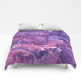 Smokey Ultra Violet and Pink Marble Comforters
