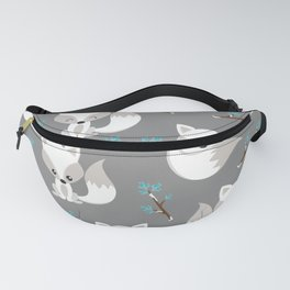 ARCTIC FOXES ON GREY Fanny Pack