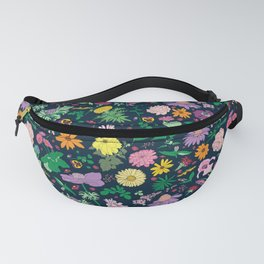 Flowers and Ferns Colorful Illustrated Print Fanny Pack