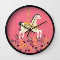 carousel Wall Clocks featuring Carousel by Prelude Posters