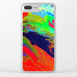 Abstract glitter art landscape painting Clear iPhone Case