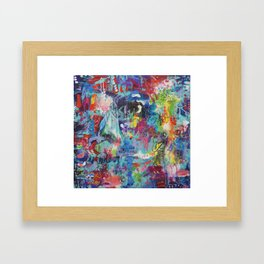Lady in the  garden abstract painting Framed Art Print
