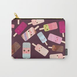 summer ice cream, ice lolly  Kawaii with pink cheeks and winking eyes Carry-All Pouch