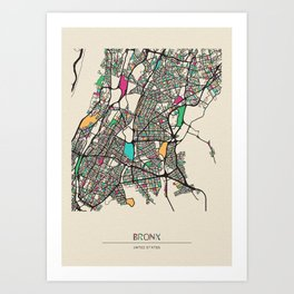 Colorful City Maps: Bronx, New York Art Print