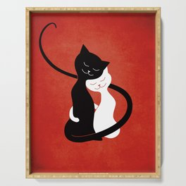 White And Black Cats In Love (red) Serving Tray