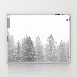Snow Day // Black and White Winter Landscape Photography Snowing Whiteout Blizzard Laptop & iPad Skin