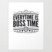 springsteen Art Prints featuring Every time is Boss time (Springsteen tribute) by My Brave Face